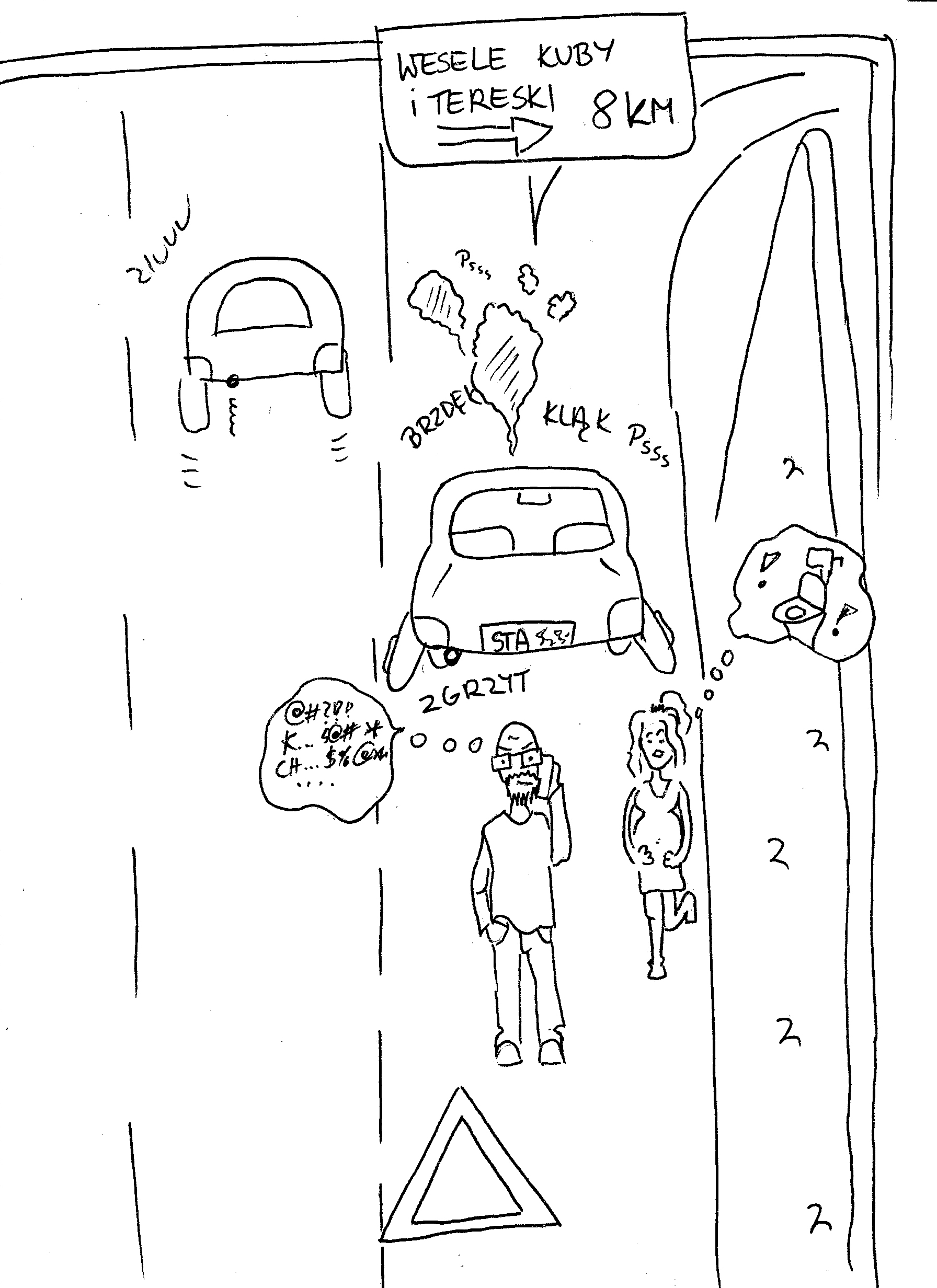 Rysunek zepsutego auta
