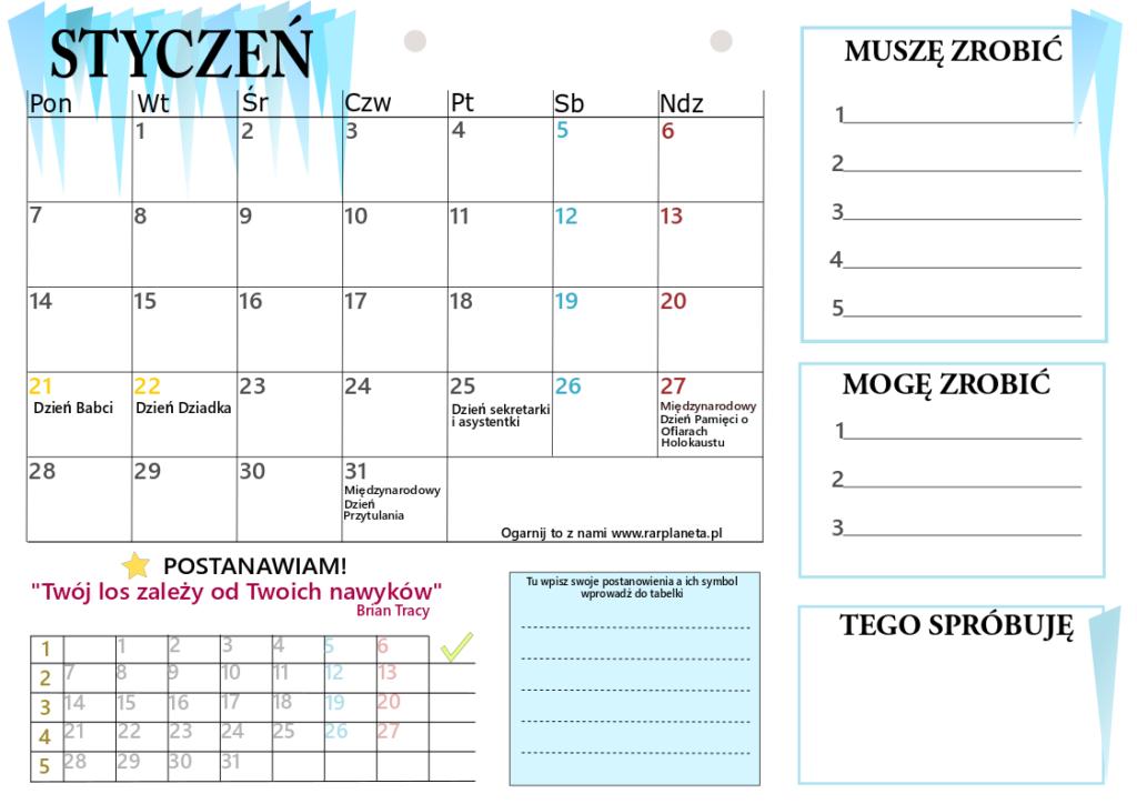 Styczeń – kalendarz