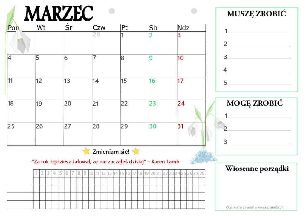 Marzec – kalendarz do druku