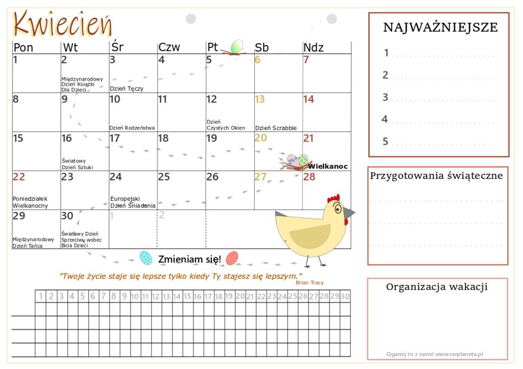 Kwiecień – kalendarz do druku