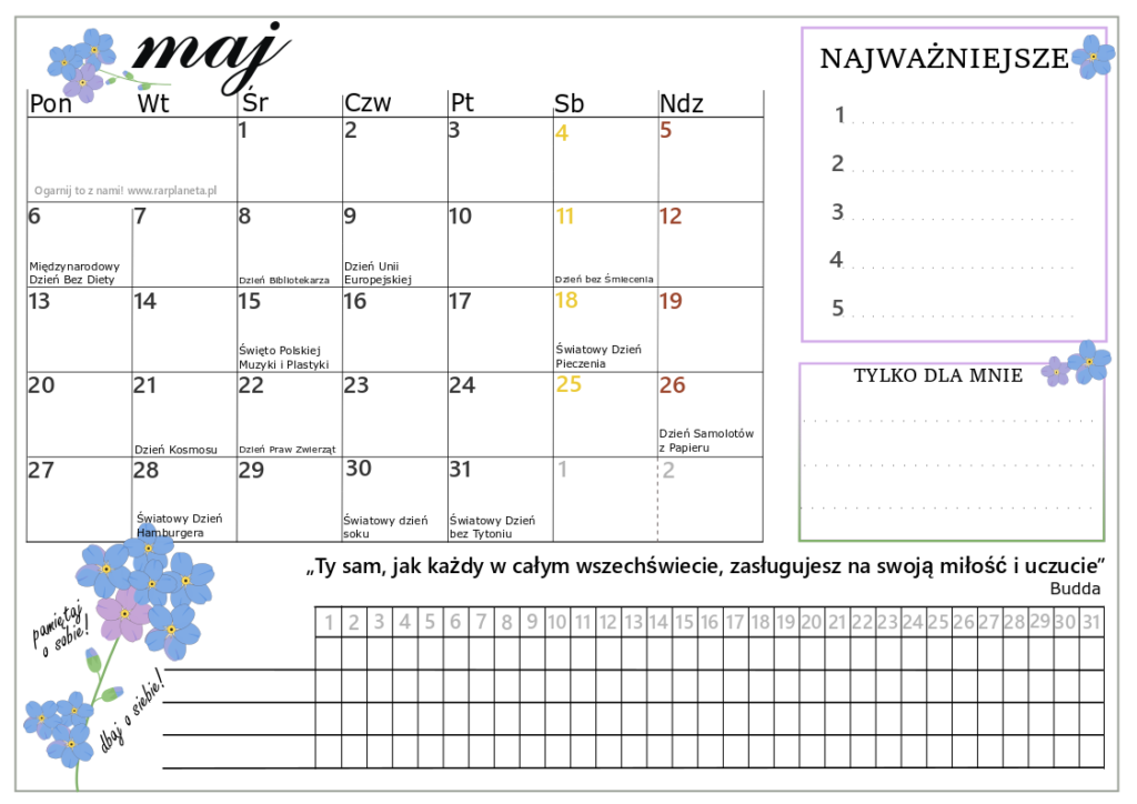 Maj – kalendarz do druku