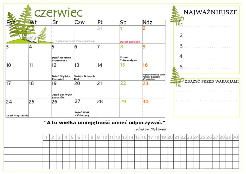 Czerwiec 2019 kalendarz do druku