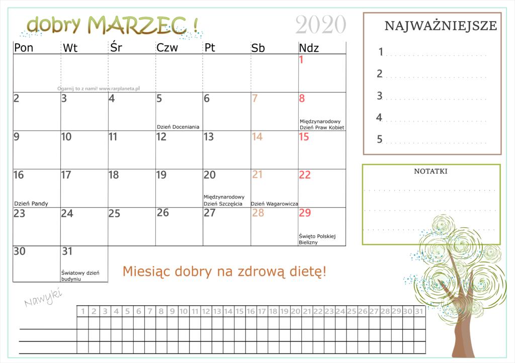 Dobry rok-marzec! Kalendarz do druku.