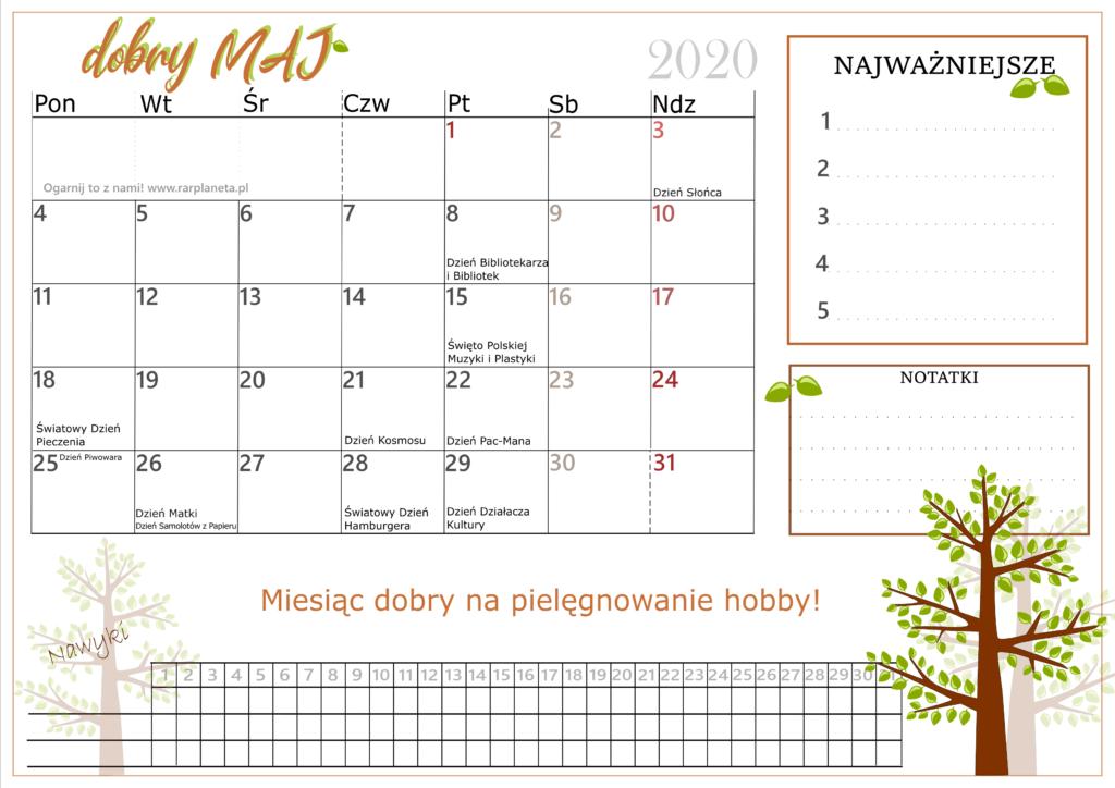 Dobry rok: MAJ! Kalendarz do druku