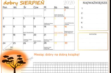 Kalendarz na sierpień 2020 Kalendarz do druku
