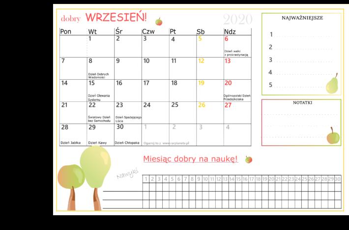 Kalendarz na wrzesień 2020 do samodzielnego wydruku