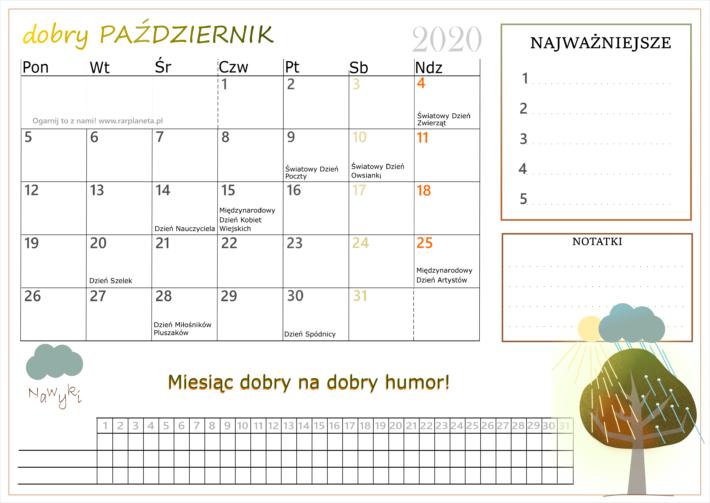 Kalendarz na pażdziernik 2020 do samodzielnego wydruku